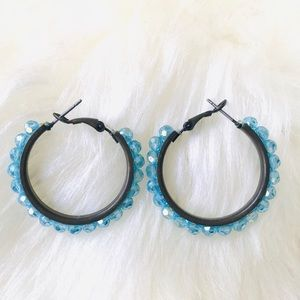 Light blue beaded hoops